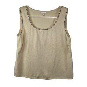 Escada Embellished Trim Shell Vest Sweater Size 44